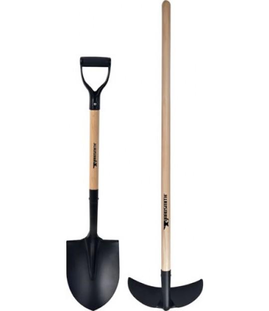 Hagesett, krafse og spiss-spade