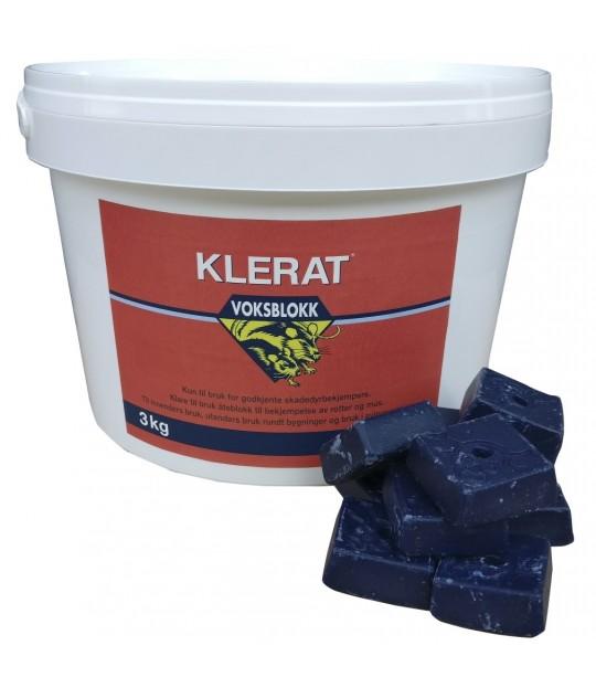 Musegift Klerat Voksblokk 3 kg spann