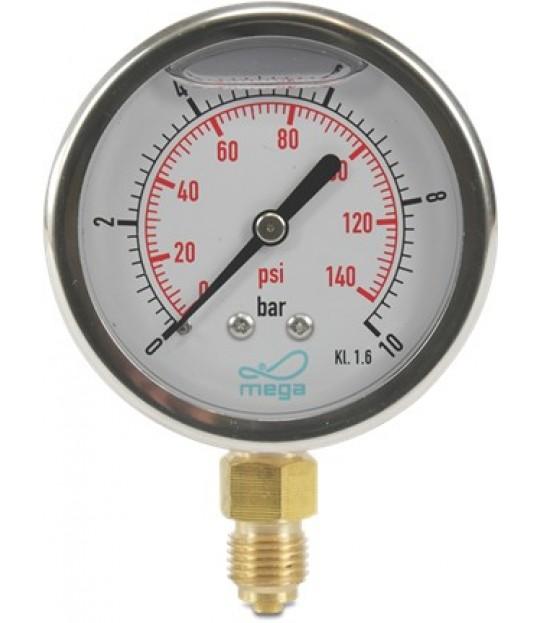 Manometer Profec glycerin 63mm 0-6 bar, bunnstuss 1/4
