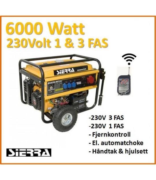 Strømaggregat Sierra 6 kw, 230V, 1 og 3 fas kombi m/fjernktr