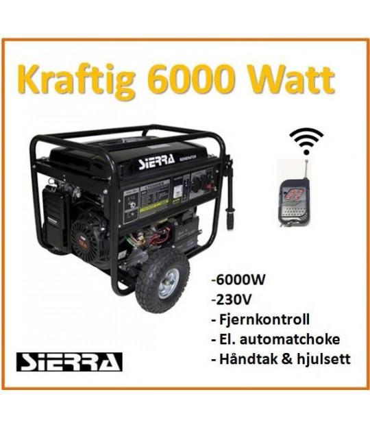 Strømaggregat Sierra 6 kw 230V 1 fas, m/utstyrspakke
