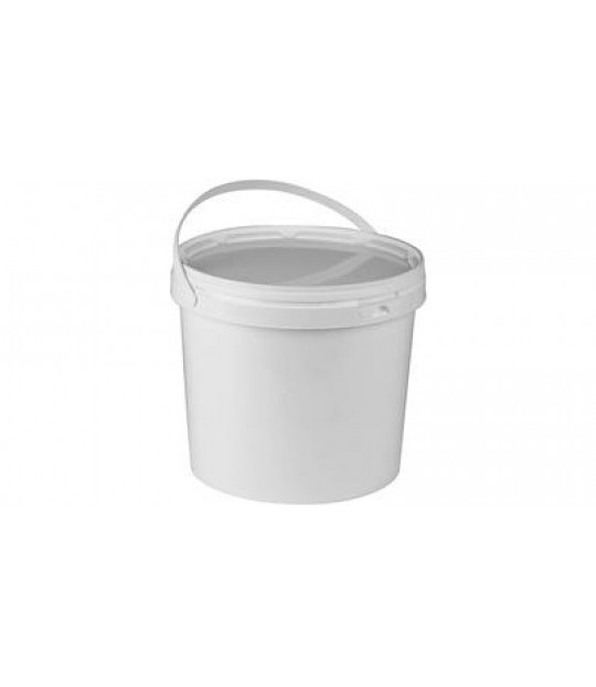 Bærspann kvit plast 3 ltr. m/plasthank m/lokk