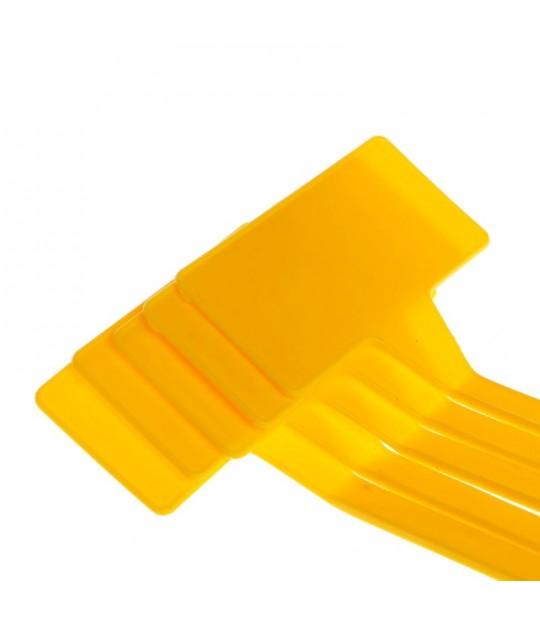 Etikett plast m/plate Bøyd 53 cm Gul, 25 stk